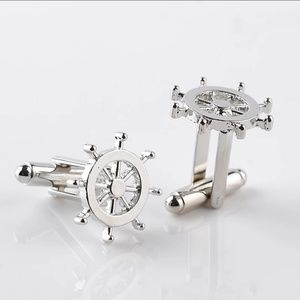 New! Silver Nautical Rudder Cufflinks